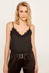 Lace Detail Blouse Sexy Sleeveless Top Summer Tank Topsladies Blouse-Black 1