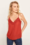 Lace Detail Blouse Sexy Sleeveless Top Summer Tank Topsladies Blouse-Red 4