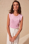 Women'S Round Neck Sleeveless Blouse Tank Tops-Lilac 1