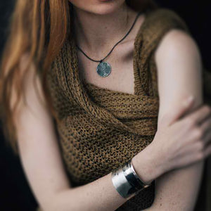 silver cuff Saint Paul oxidised on redhaired model