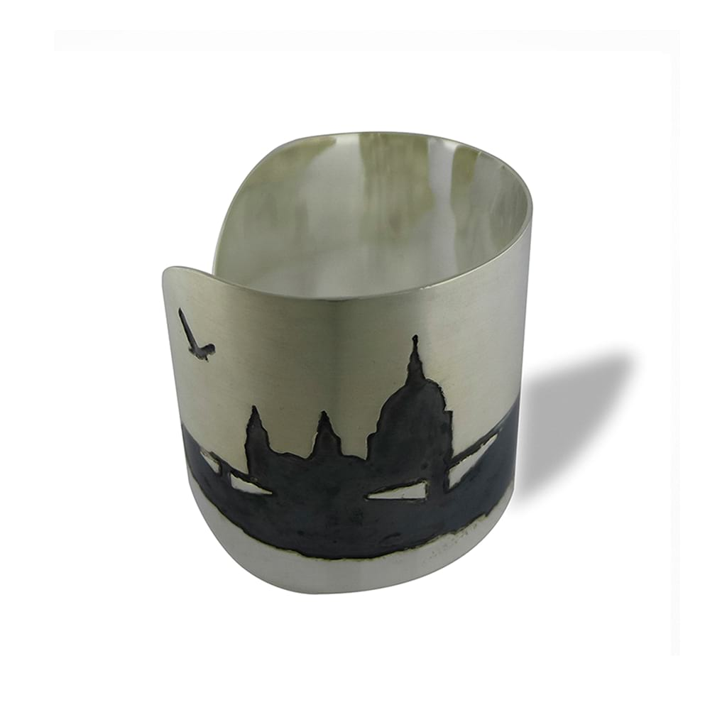 Wide Silver Cuff with Saint Paul Cathedral