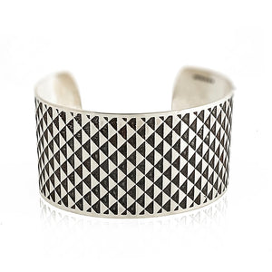 silver cuff bracelet with triangle design flat