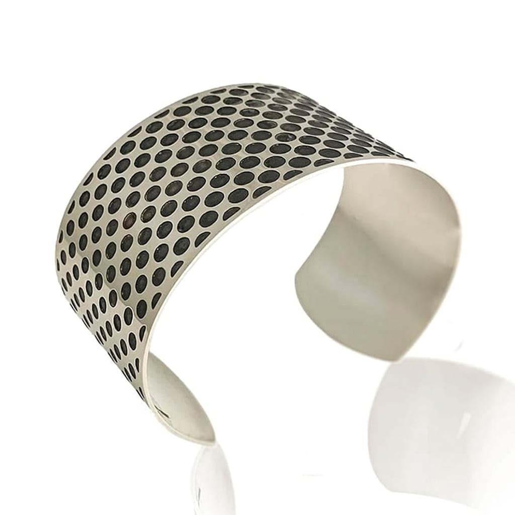 oxidised cuff bracelet dotted design reverse view