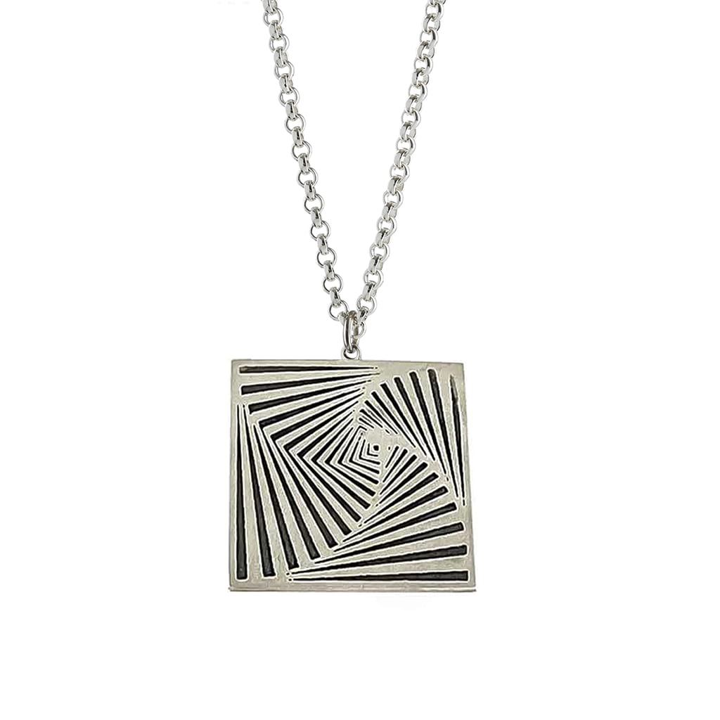 Silver square pendant hanging
