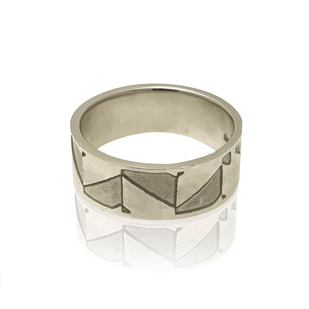 abstract silver ring flat