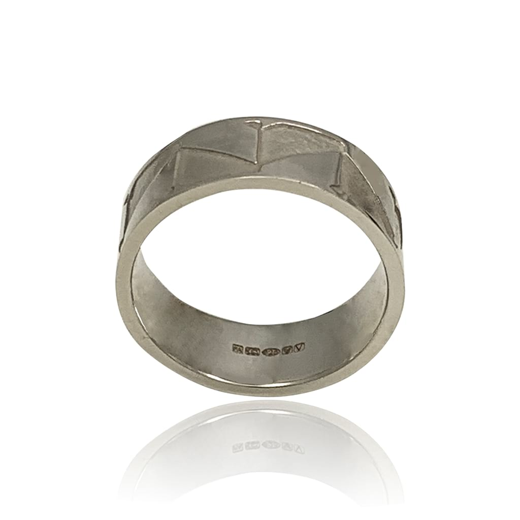 abstract silver ring frontal view