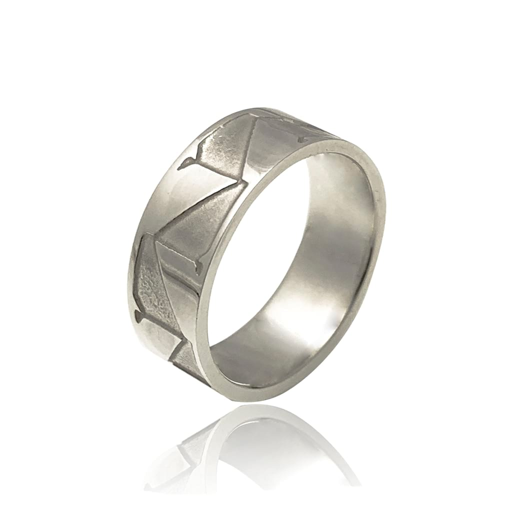 abstract silver ring polished