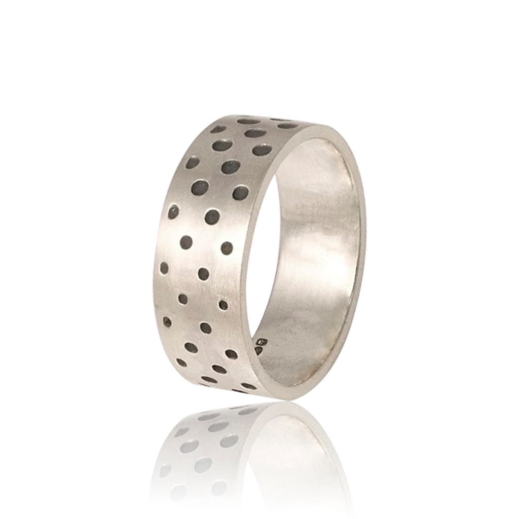 unisex dots silver ring lateral