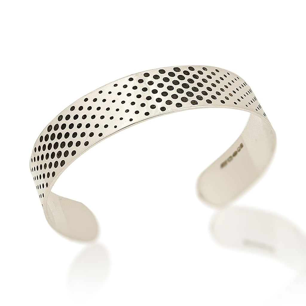 Silver Narrow Cuff with Dots