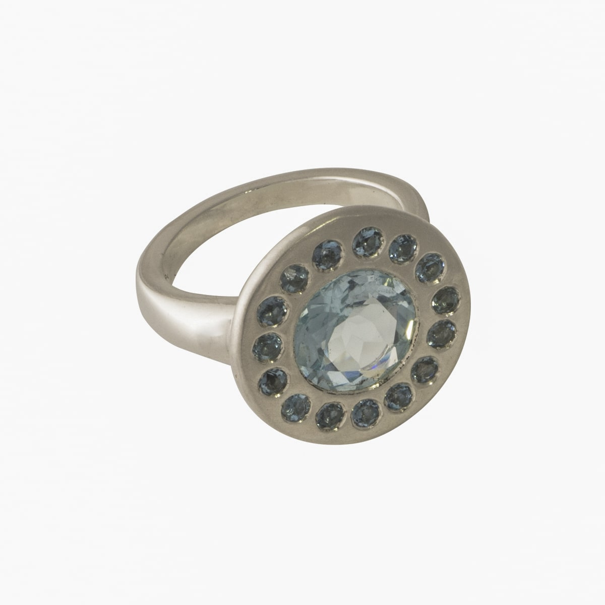Halo Ring Topaz & Aquamarine