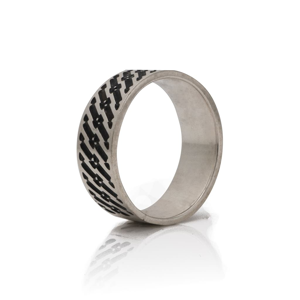 abstract design silver ring