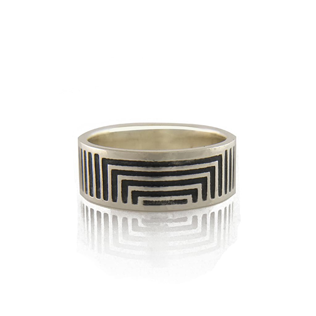 silver oxidised ring linear flat
