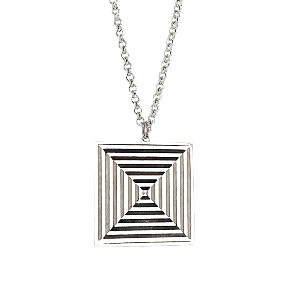 silver square pendant oxidised with optical design detail