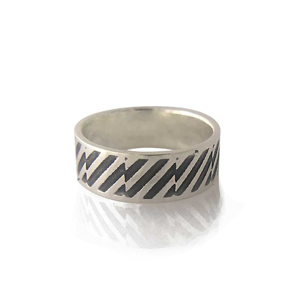 Unisex- 925-Sterling Silver-Oxidised-Ring