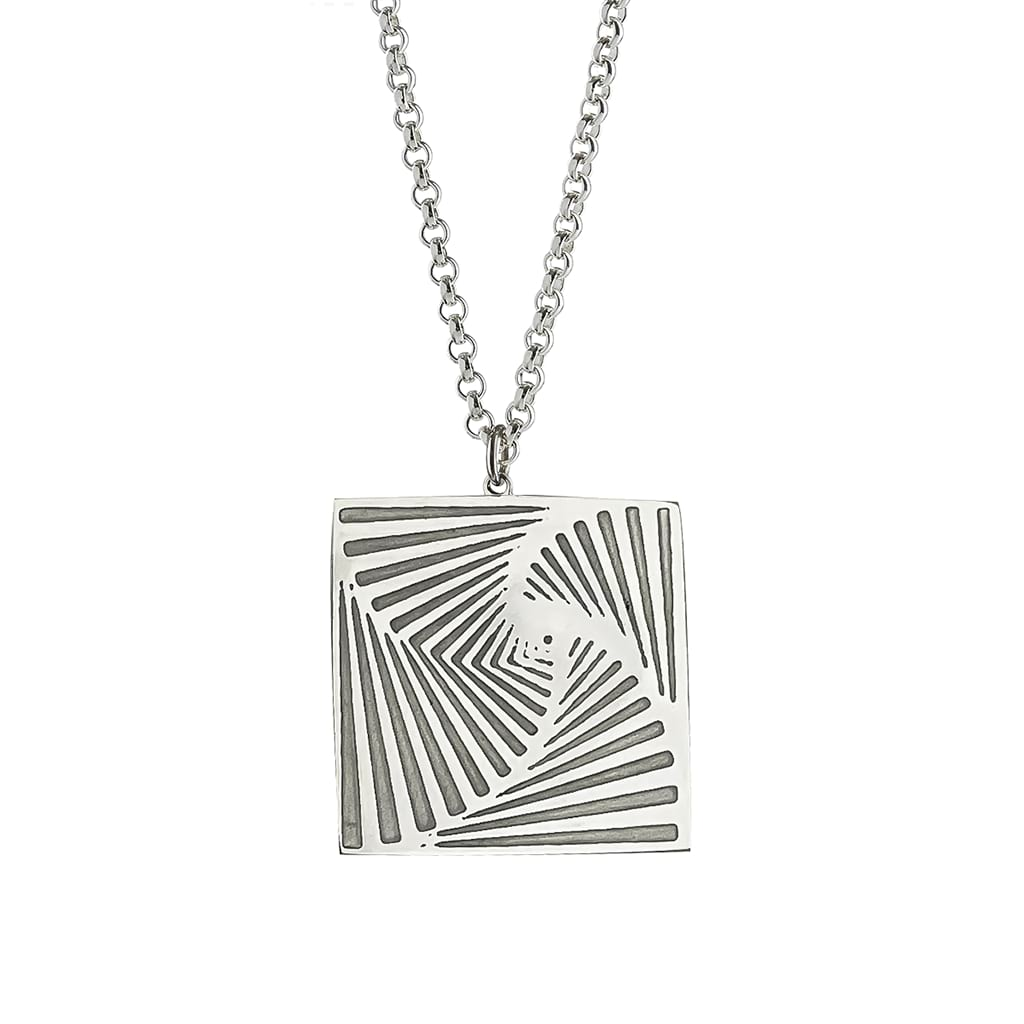 Silver Square Pendant polished hanging