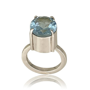 sliver ring with sky blue Topaz on a white background