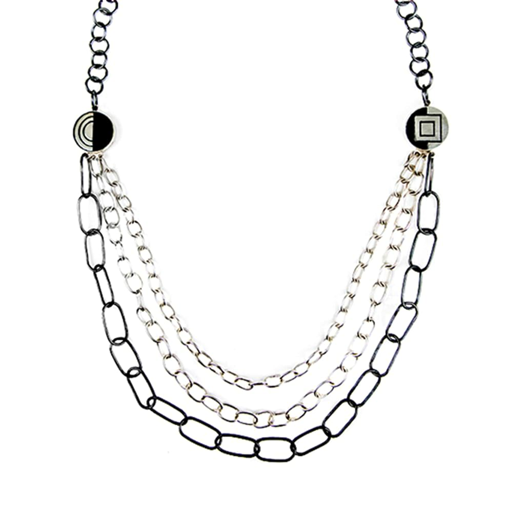 Silver Chain Necklace with Oxidised Details