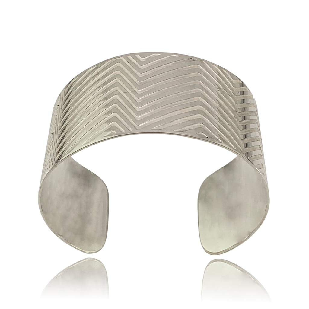 Wide Silver Oval Cuff With Etched Lines on a White Background Front