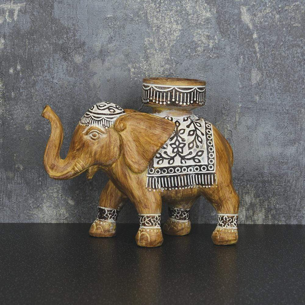 Elephant Candle Holder Brown 16cm 6PK