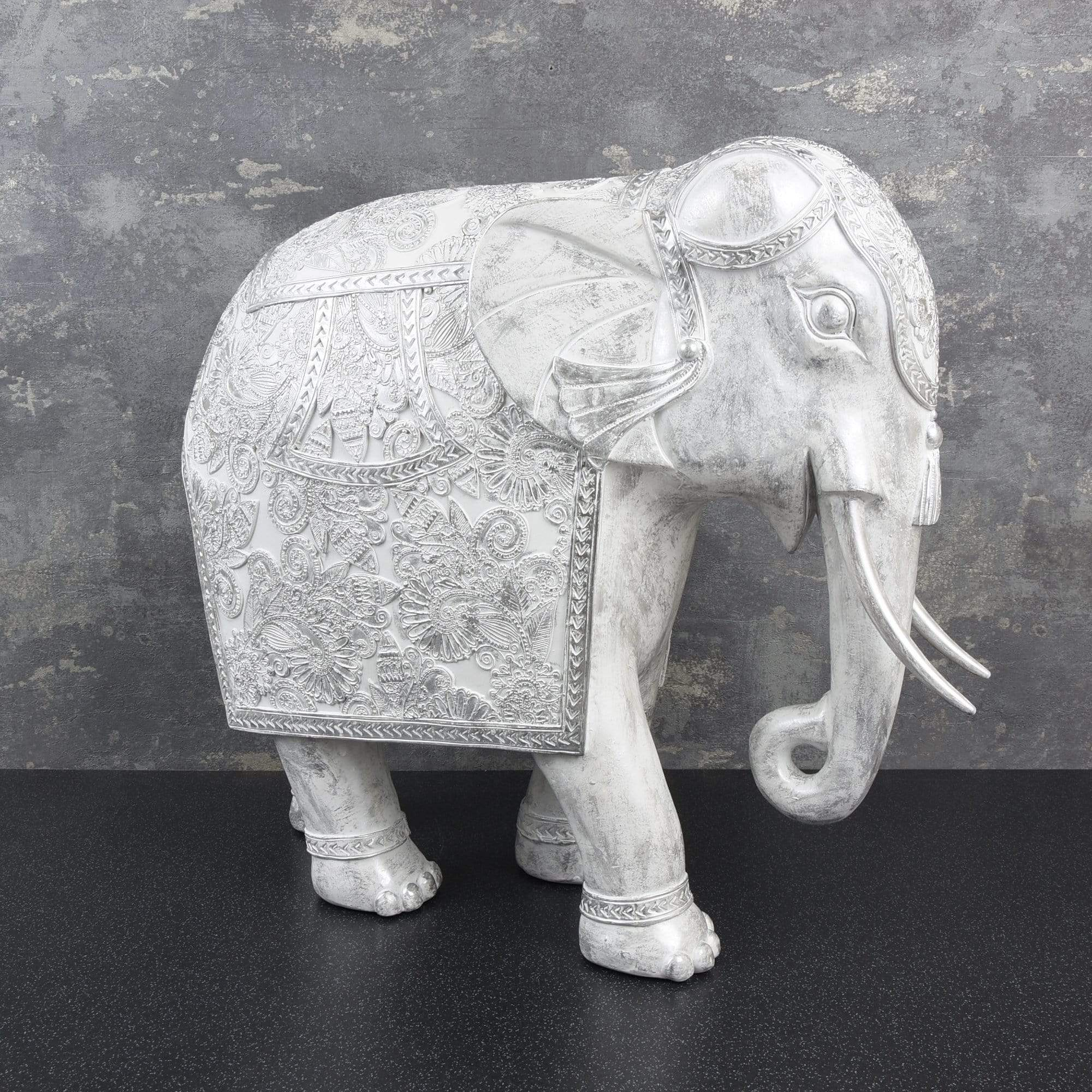 Candlelight Home Animals & Insects Large Elephant Ornament White Wash 38.5cm 1PK