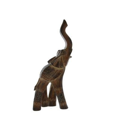 Candlelight Home Animals & Insects Large Elephant Ornament with its trunk up Brown 44.5cm 1PK