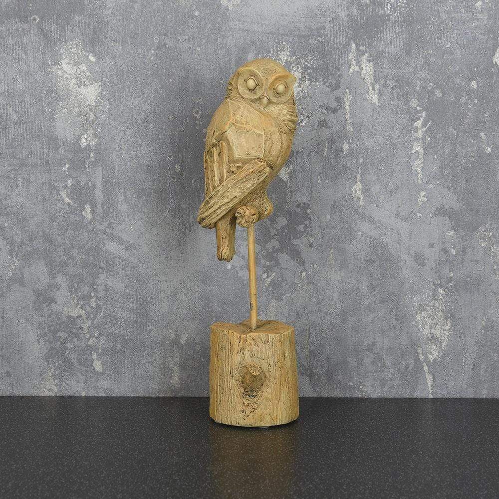 Owl Ornament on Stand Light Oak 27.5cm 4PK