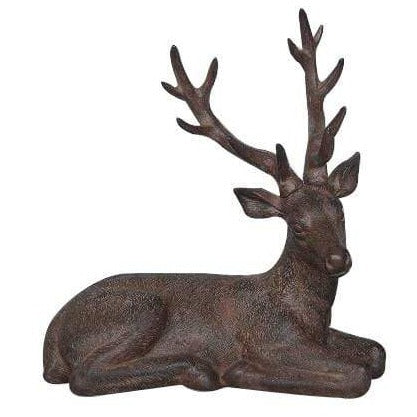 Sitting Stag Ornament Brown 34.5cm 2PK
