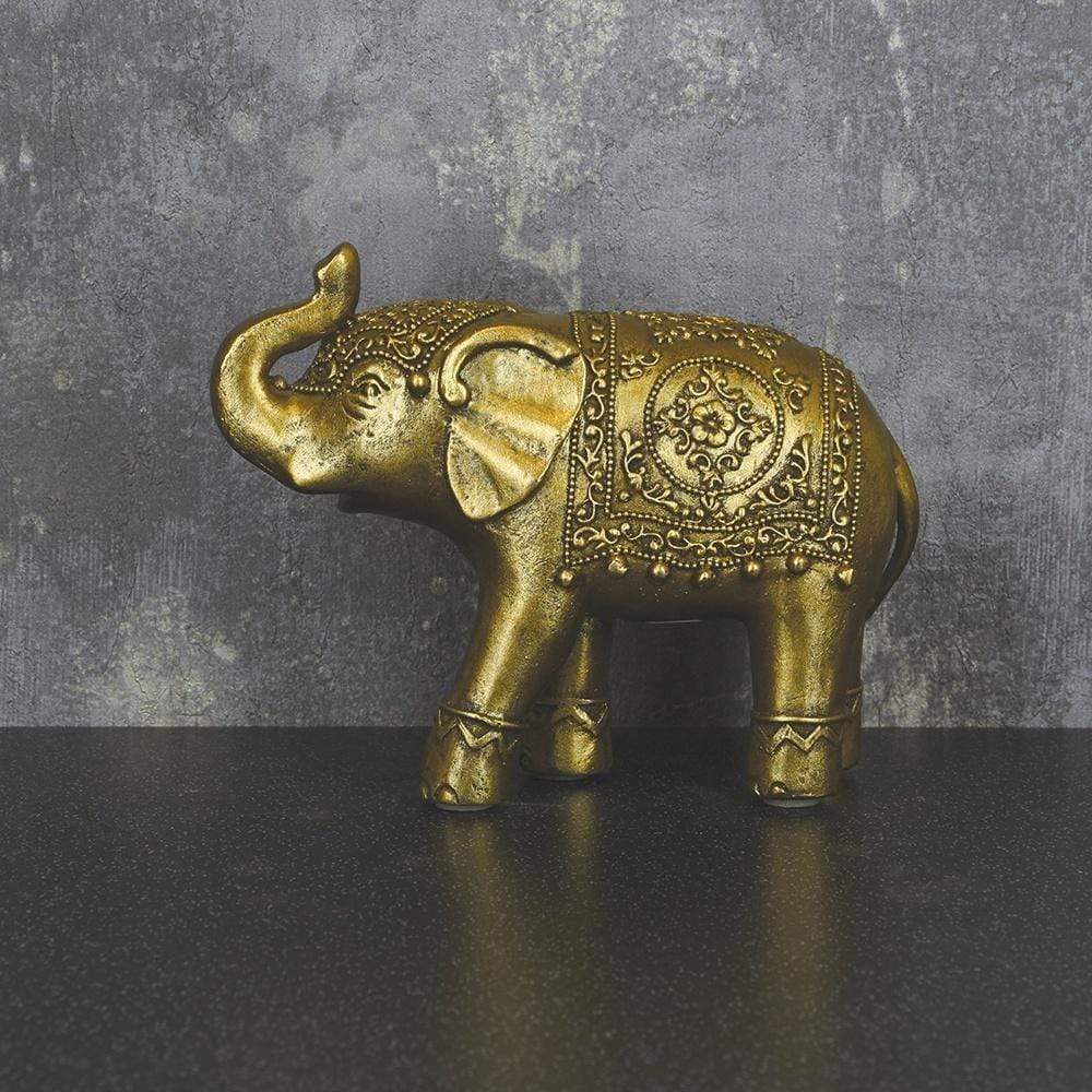 Candlelight Home Animals & Insects Small Elephant Ornament with Decorative Rug Antique Gold 15cm 6PK