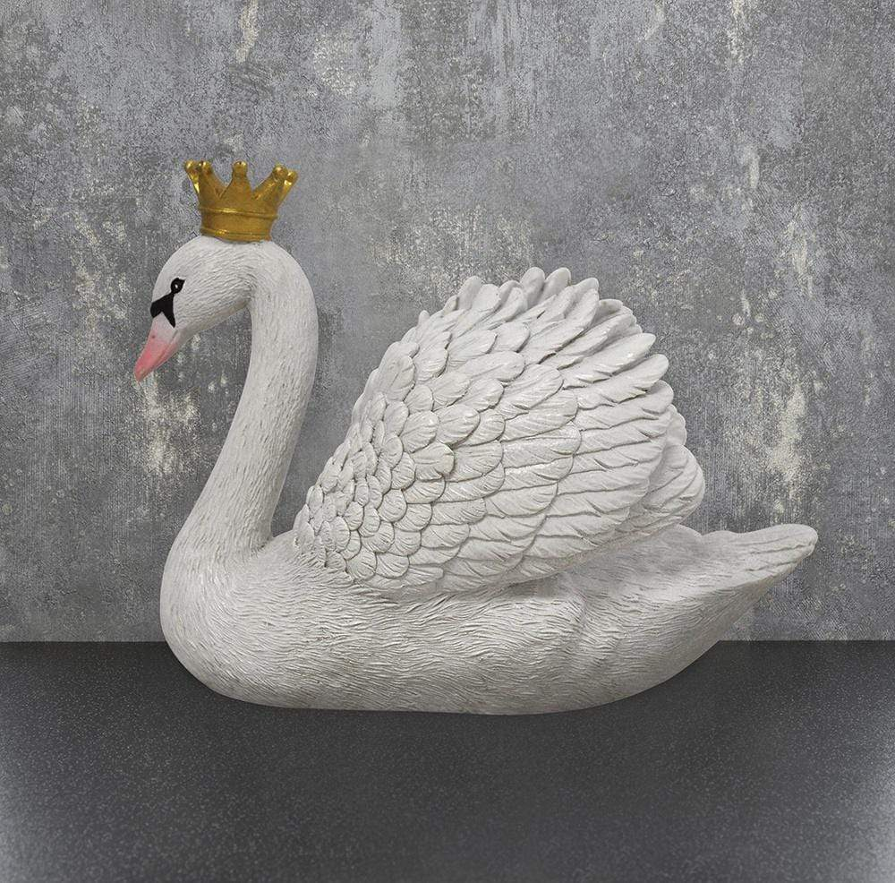 Candlelight Home Animals & Insects Swan Ornament with Crown White 14cm 2PK