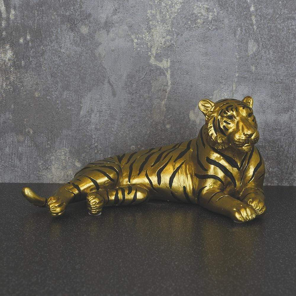 Tiger Ornament Antique Gold 20cm 2PK