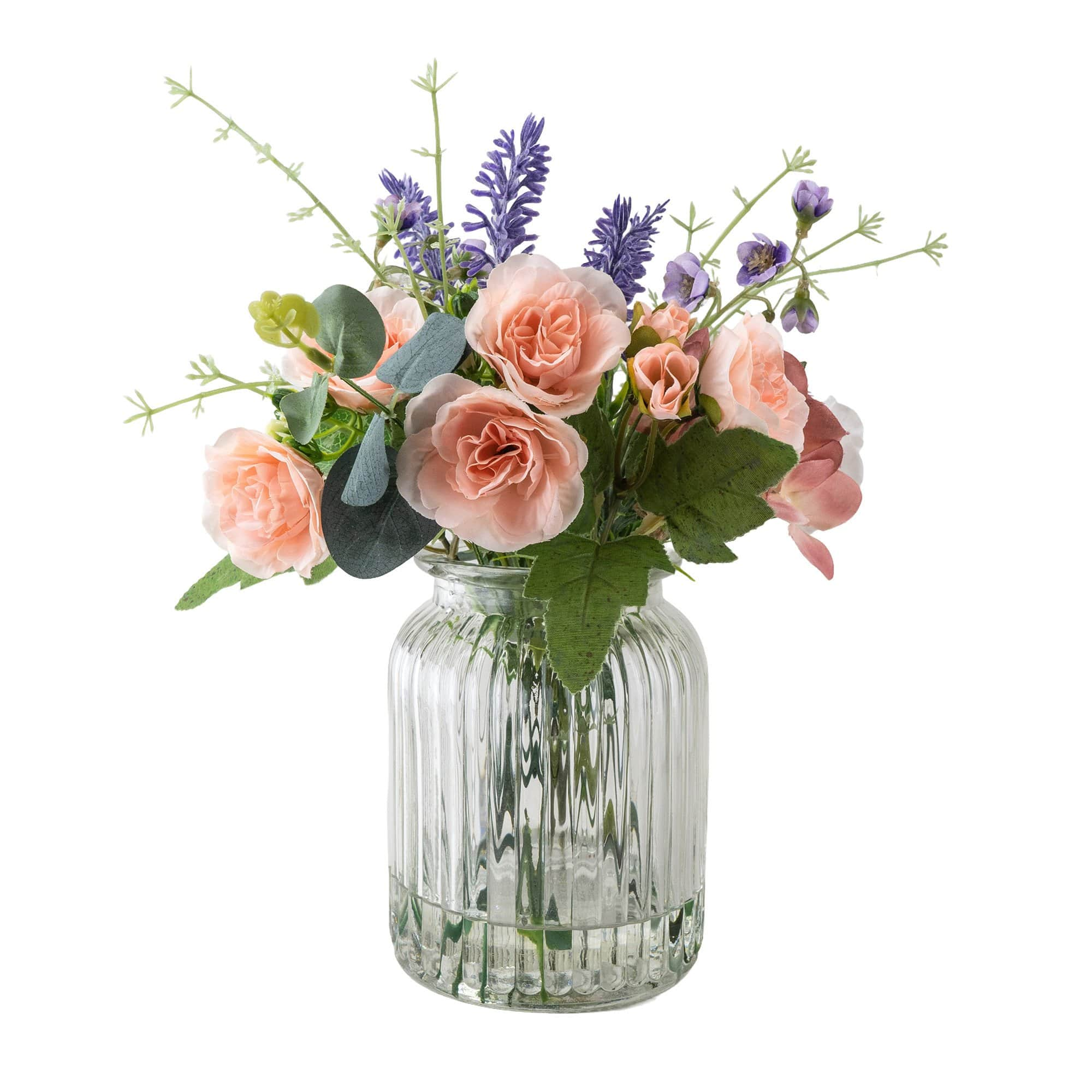 Faux Floral Arrangement in Clear Textured Glass Vase 6PK