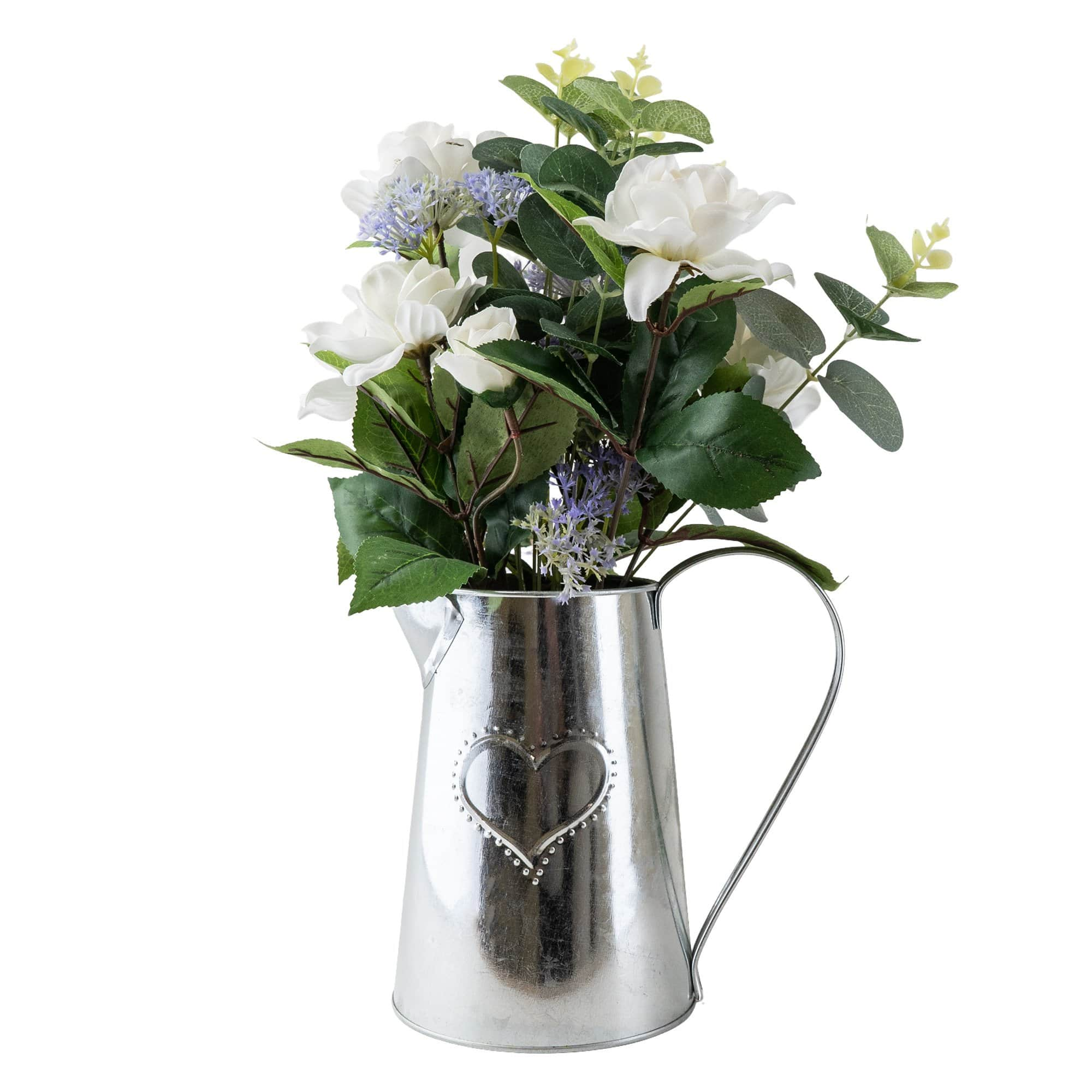 Metal Jug with Camelia and Eucalyptus Lilac 41cm 1PK