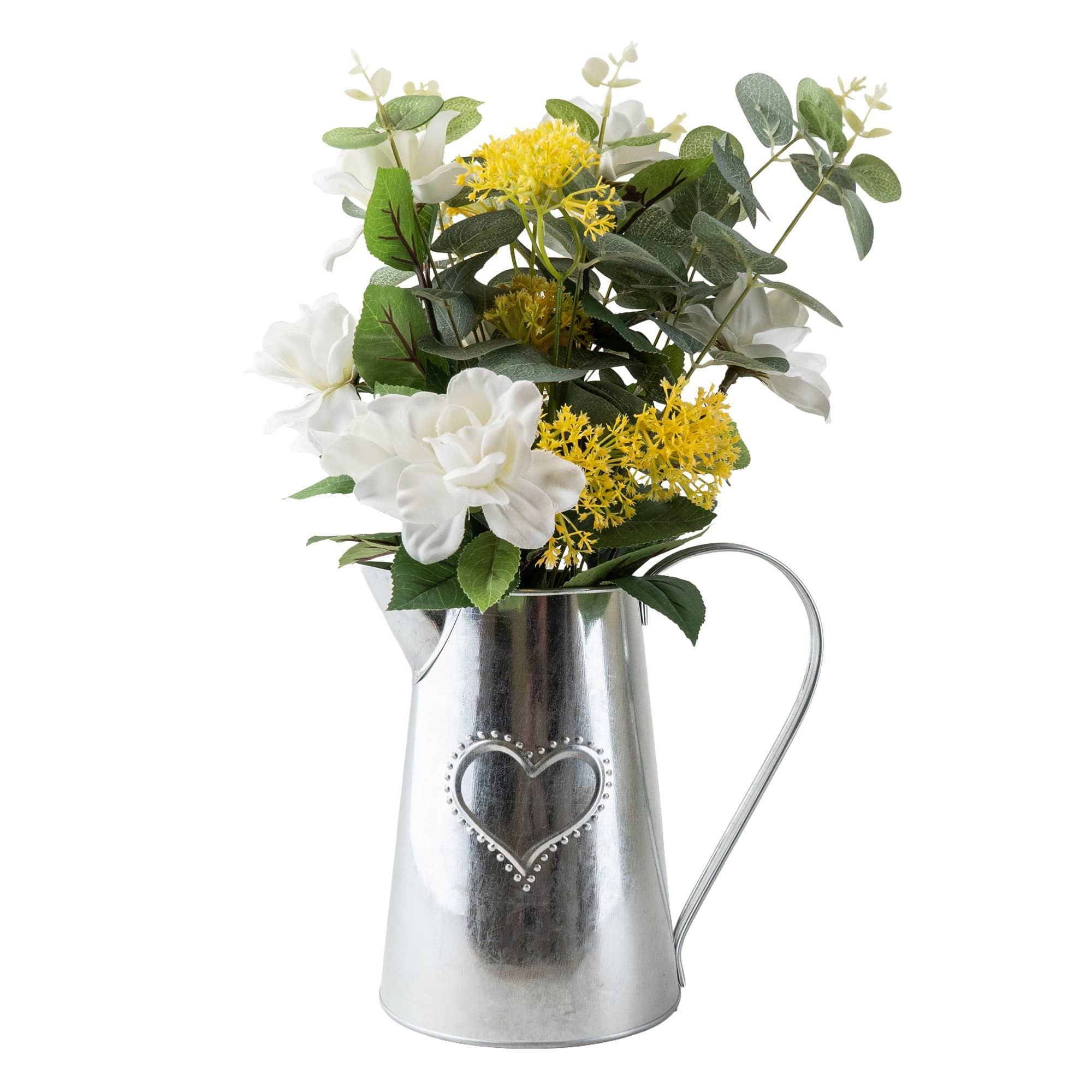 Metal Jug with Camelia and Eucalyptus Yellow 41cm 1PK