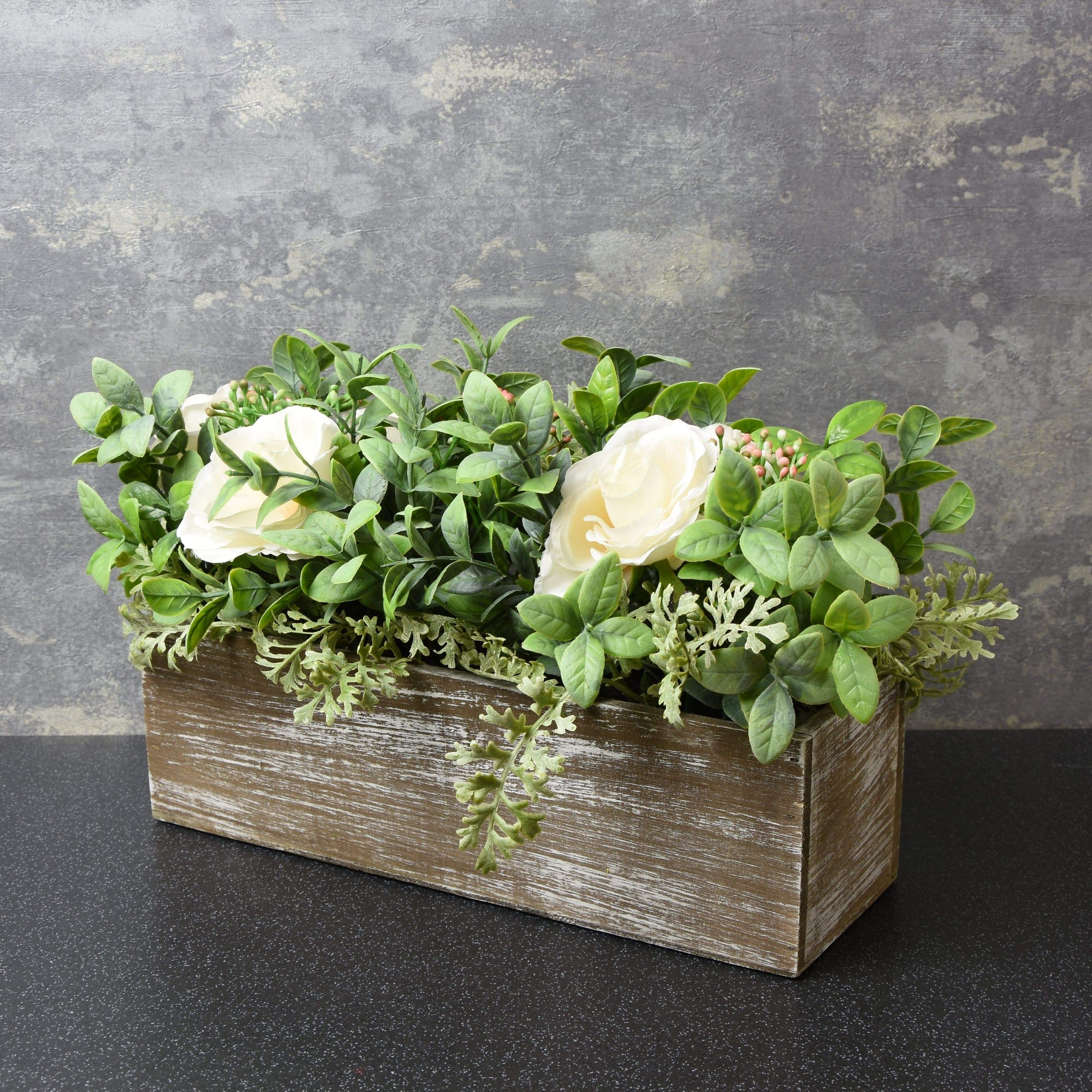 Artificial Roses and Leaves in Wooden Box White 25cm 4PK