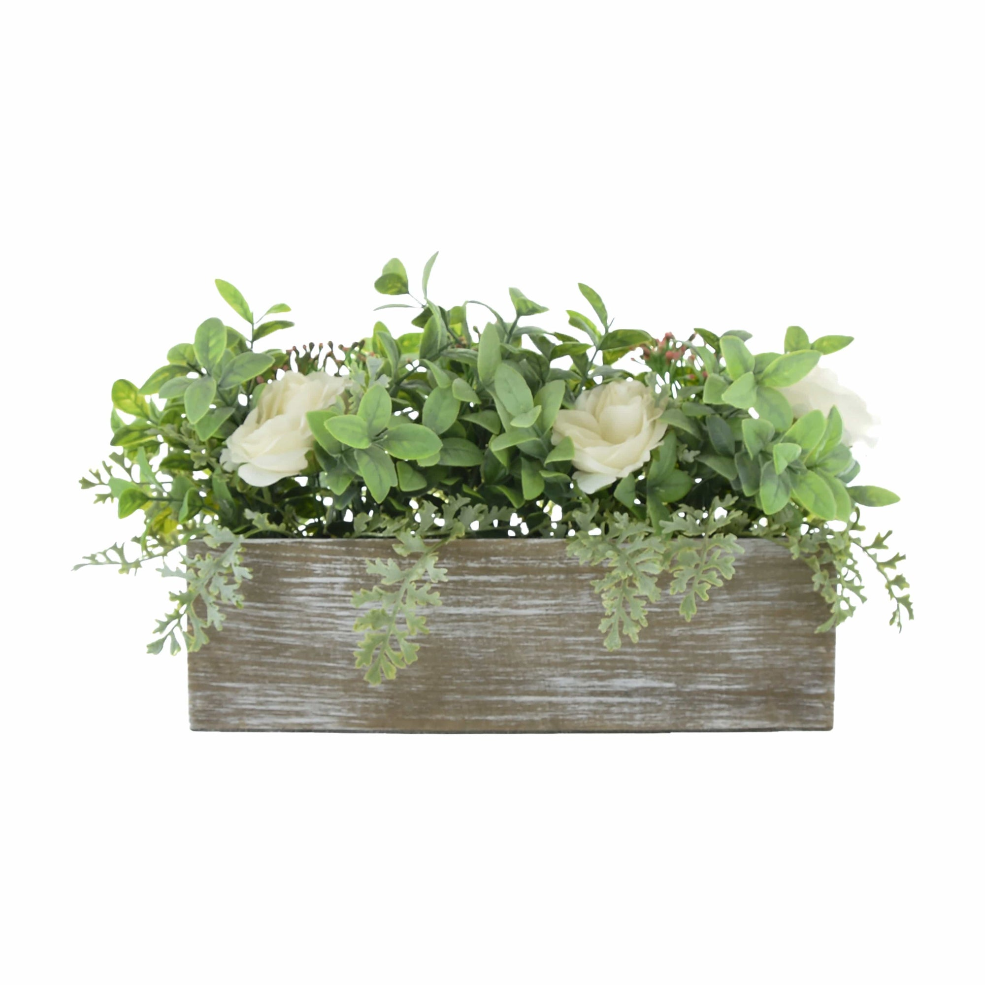 Candlelight Home Artificial Plants & Flowers Artificial White Roses and Leaves in Wooden Box 25cm 4PK