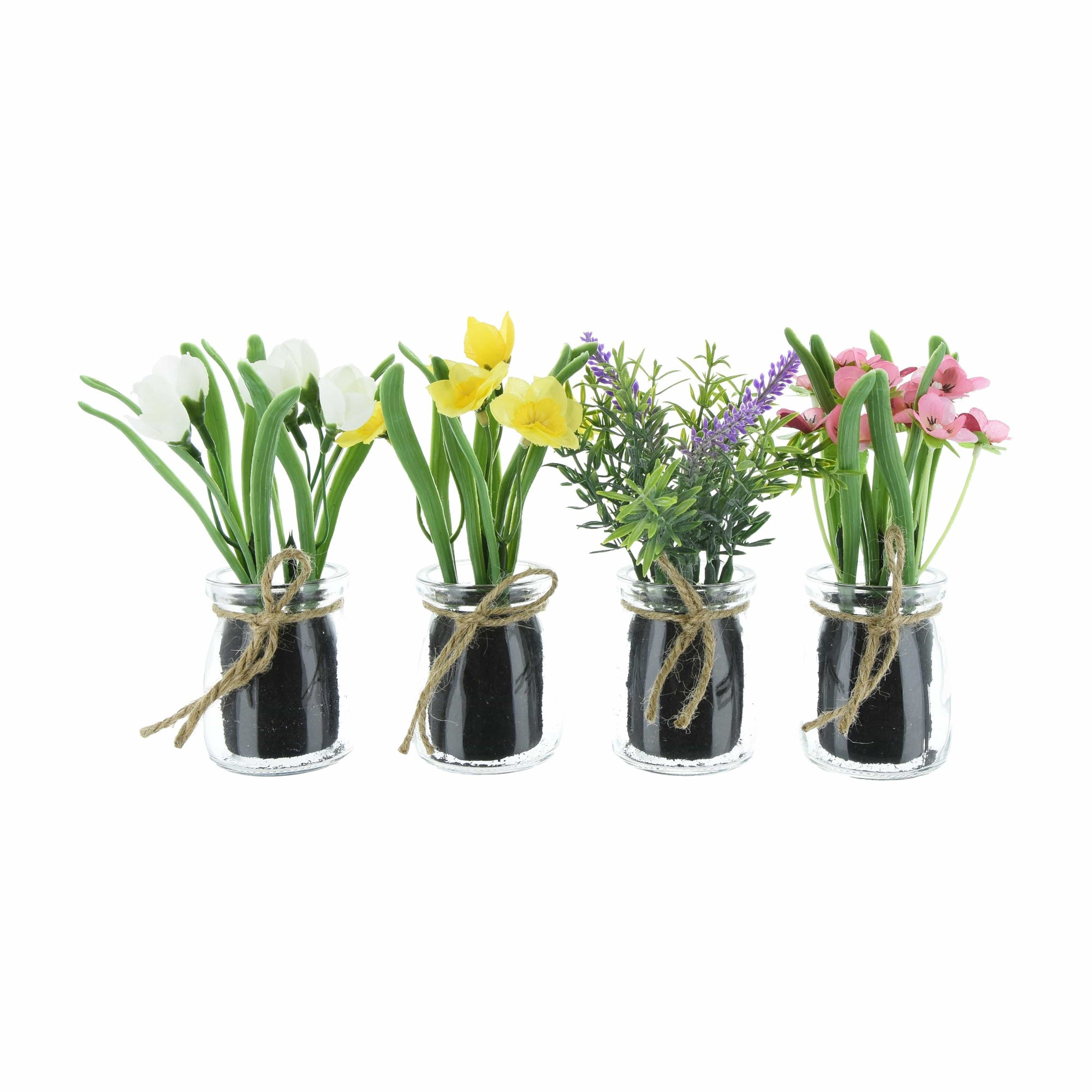 Assorted Artificial Flowers in Glass Pot 16cm 12PK