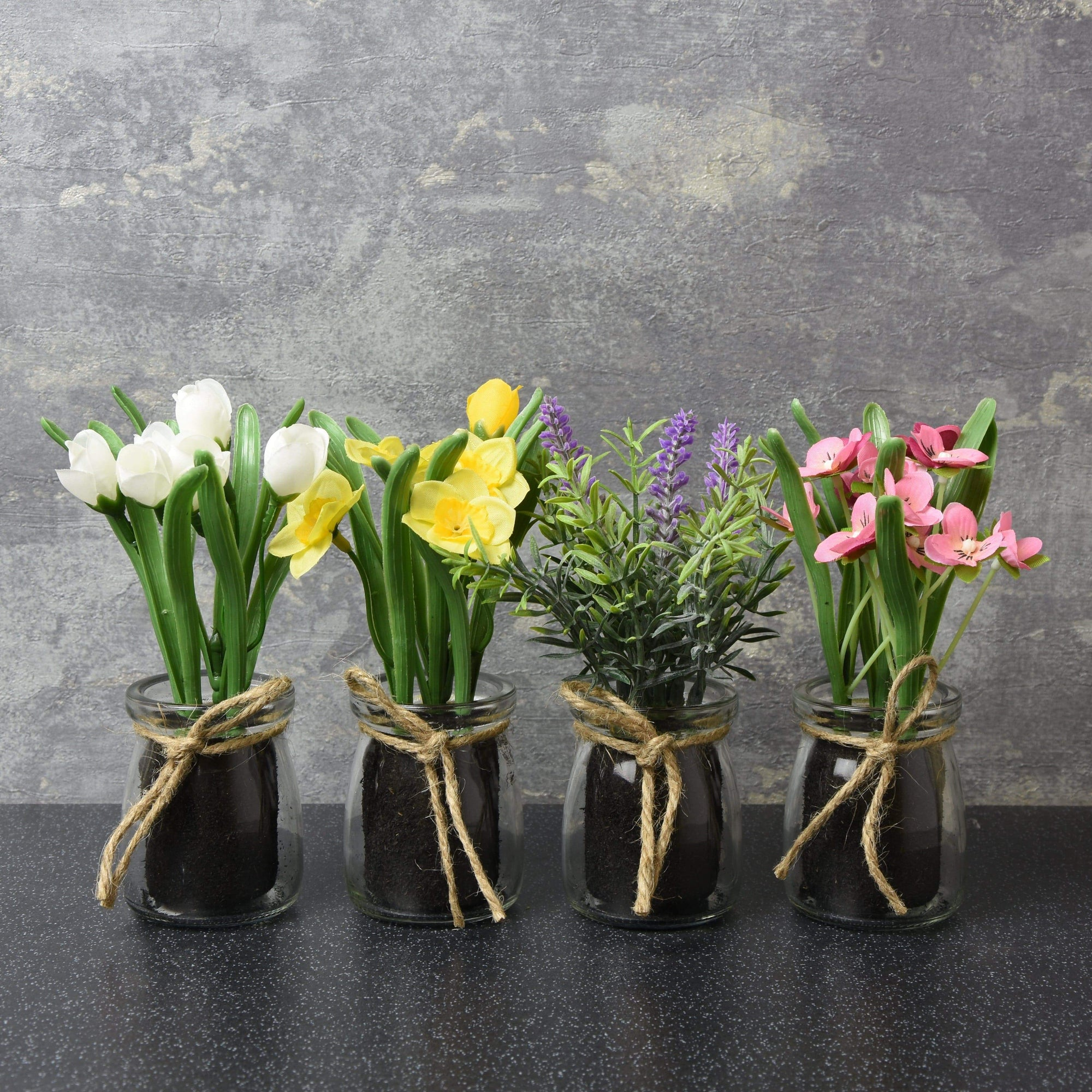 Candlelight & Assorted Artificial Flowers in Glass Pots Various 16cm 12PK