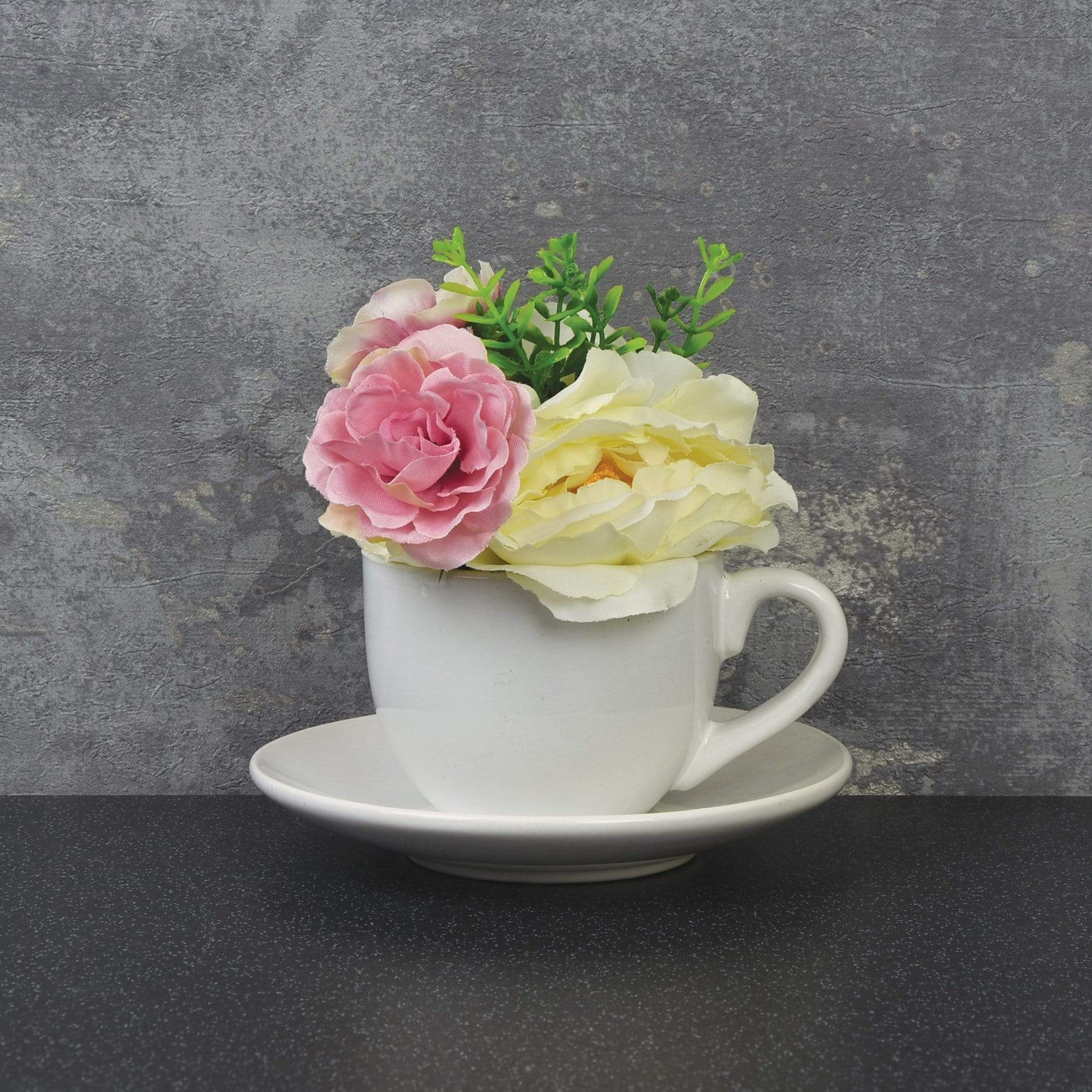 Candlelight Home Artificial Plants & Flowers Ceramic Teacup & Saucer with Peonies Pink 16.5cm 6PK