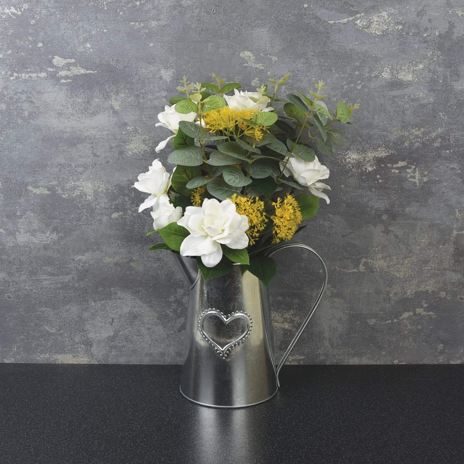 Candlelight Home Artificial Plants & Flowers Metal Jug with Camelia and Eucalyptus Yellow 41cm 1PK