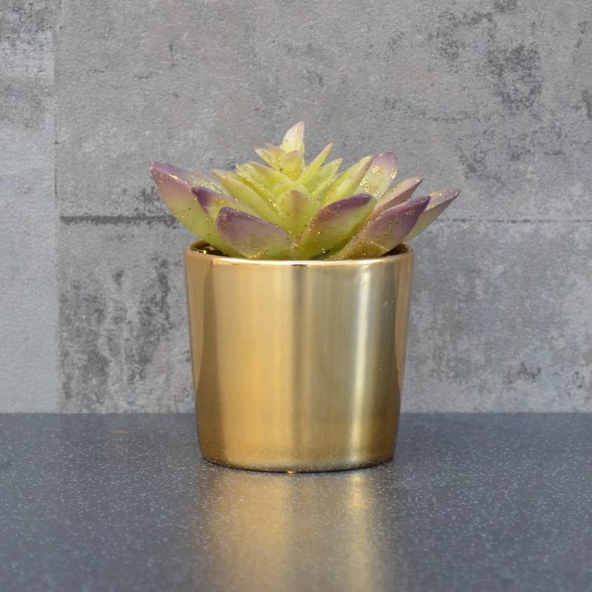 Candlelight Home Artificial Plants & Flowers Potted Succulent with Glitter in Ceramic Pot Gold 10.5cm 1PK