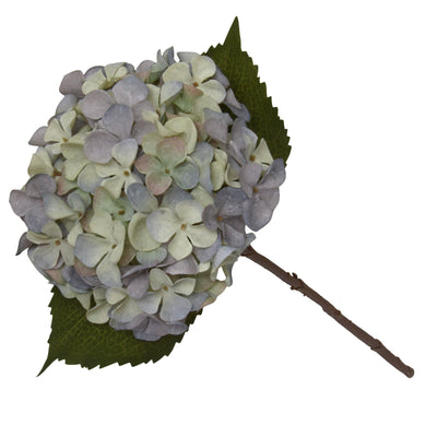 Candlelight Home Artificial Plants & Flowers Single Hydrangea Two Tone Green and Blue Faux Stem 46cm