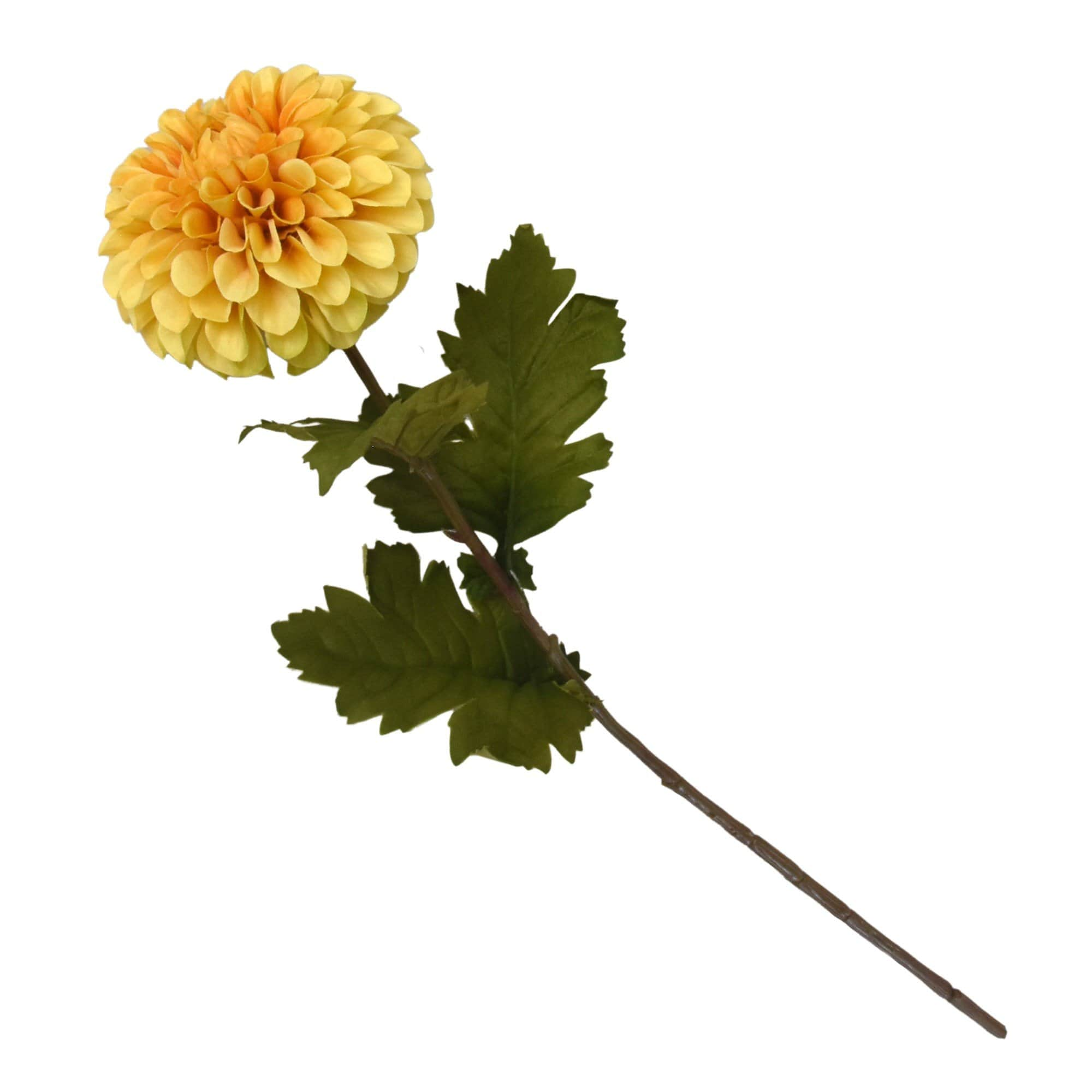 Candlelight Home Artificial Plants & Flowers Single Stem Faux Dahlia Ochre 60cm Tall