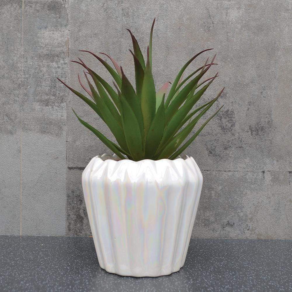 Candlelight Home Artificial Plants & Flowers Spikey Artificial Plant in Geometric Pot White Pearlescent17cm 6PK