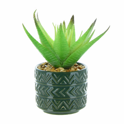Candlelight Home Artificial Plants & Flowers Spikey Succulent in Ceramic Pot with Aztec Design Green 14cm 12PK