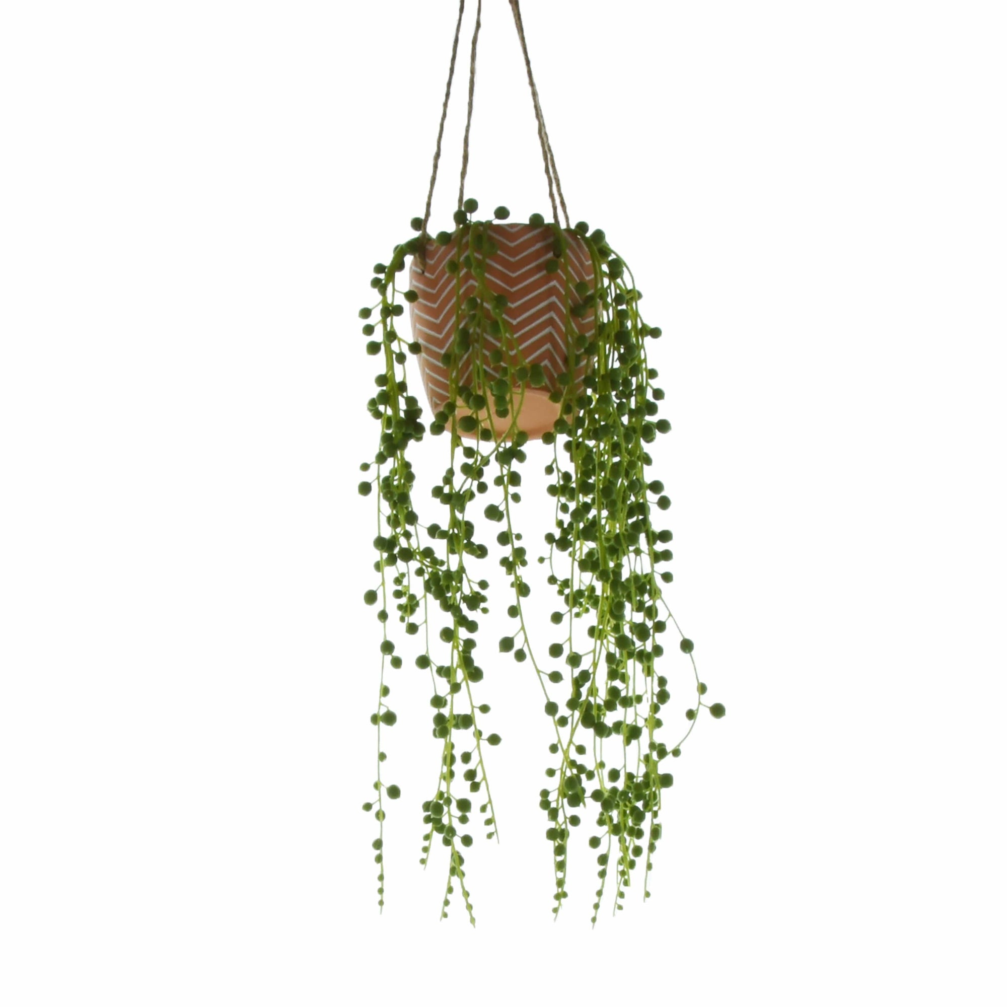 Candlelight Home Artificial Plants & Flowers String of Pearls Plant in Cement Pot Red 76cm 1PK