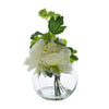 Candlelight Home Artificial Plants & Flowers The Flower Patch Peony Cream in Glass Bowl 19cm 1PK