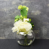 Candlelight Home Artificial Plants & Flowers The Flower Patch Peony in Glass Bowl Cream 19cm 1PK