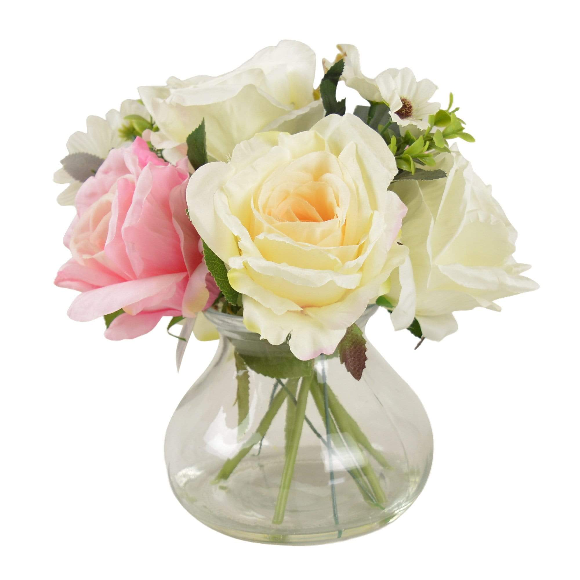 The Flower Patch Roses & Daisies Cream & Dusky Pink in Glass Vase 26cm 6PK