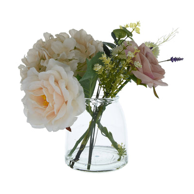 Candlelight Home Artificial Plants & Flowers The Flower Patch Roses & Hydrangea Dusky Pink in Glass Vase 25cm 1PK
