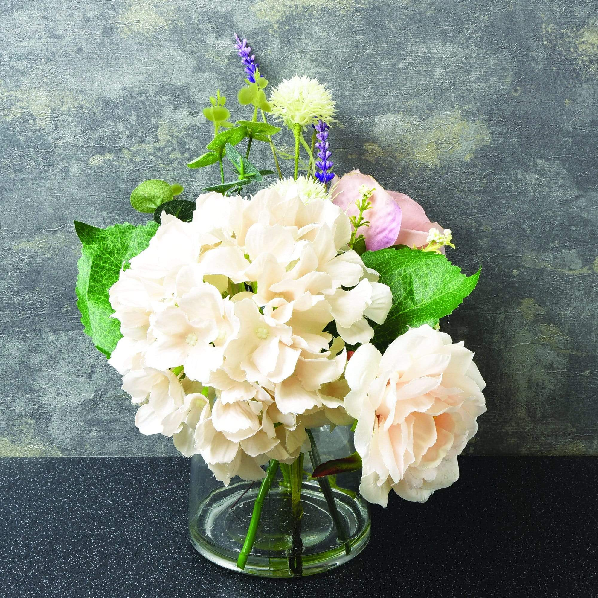 Candlelight Home Artificial Plants & Flowers The Flower Patch Roses & Hydrangea in Glass Vase Dusky Pink 25cm 1PK